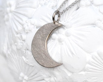 Moon Pendant in 18k White or Yellow Gold, Eco Friendly