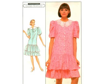 80s Simplicity 8548 Belle France Drop Waist Dress with Puff Sleeves & Two Tiered Ruffled Skirt, U/C, F/Folded, Sewing Pattern Size 10-14