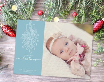 Photo Christmas Card | Christmas Birth Annountment | DIY Printable or Printed+Shipped | Holiday Card | Mistletoe | Merry Christmas | Blue