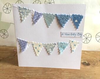 New baby boy bunting card. Baby boy. New baby. Handmade card. Bunting