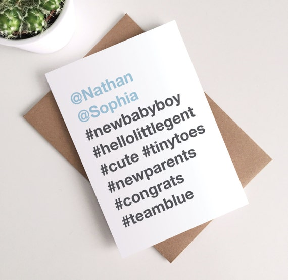Personalised new baby boy card instagram hashtag like this item m4hsunfo