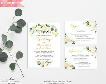 Printable Ivory Cream Floral Green Gold Wedding Invitation Set, Editable PDF Template, Wedding Invites, vistaprint, DIY Instant Download #06