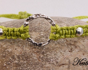 Karma Bracelet - Chartreuse  Sterling Silver Macrame Karma Circle Bead Bracelet - KTBL