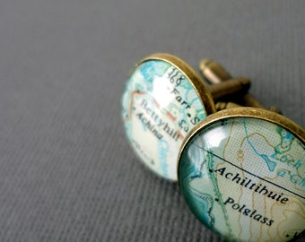Custom Cufflinks for Men, Map Cufflinks, Wedding Cufflinks, Map Cufflinks, Bronze Anniversary Gift, Customised Gift for Men, Husband Gift