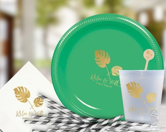 Tropical Palm Leaf | Customizable Party Plates, Napkins, Cups or Stir Sticks | social graces and Co