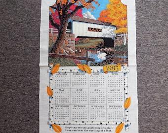 Vintage 1993 Covered Bridge Hanging Tea Towel Calendar