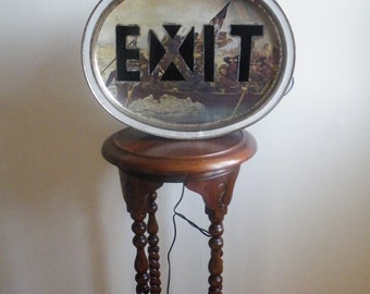 exit sign made from from biscuit tin