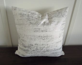 Silver and White Pillow Cover,  Decorative Pillow, 18x18, Metallic Pillow, Shimmery Pillow, Accent Pillow