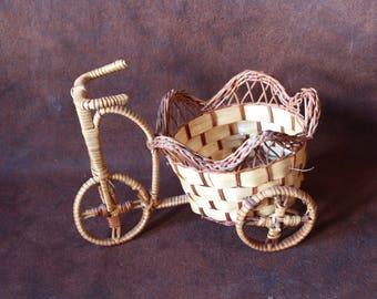 Handmade Wicker  Bicycle Basket, Vintage Rattan, Bent Wood Basket,  Flower Pot Basket. Rattan Plant Stand