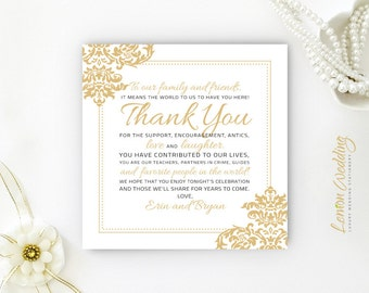 Reception thank you cards PRINTED | Custom seating thank you note card | Gold damask wedding thank you notes