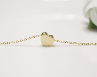 Golden tiny heart simple necklace