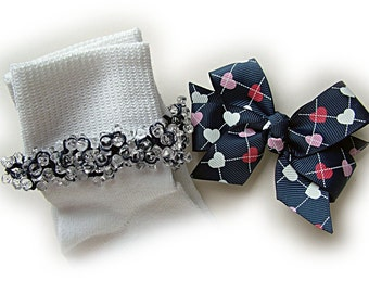 Kathy's Beaded Socks -  Navy Argyle Heart Socks and Hairbow, girls socks, navy socks, school socks, clear socks, argyle socks