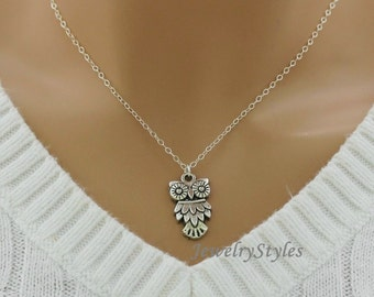 Silver Owl Necklace, Sterling Silver Chain
