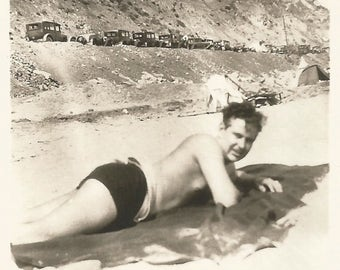 """Vintage Snapshot """"A Day At The Beach"""" Cute Guy On Beach Blanket Old-Fashioned Swimsuit & Shoes 1930's Found Vernacular Photo"""