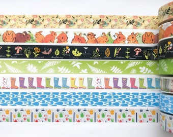 "Spring Washi Tape 24"" Sample Set - Bobbins - Bunnies, Plants, Fern, Rain boots, Rain, Watering Cans, Gardening"