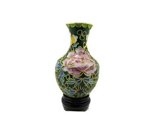 Chinese Cloisonne  Vase /Miniature Green Cloisonné Vase/ Petite Bud Vase/ Pink Carnations and Butterflies