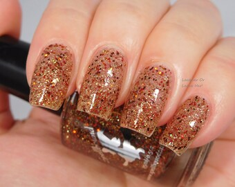 Gingerbread Latte *with optional scent* - custom red gold copper bronze glitter topper nail polish