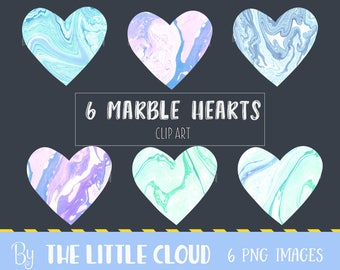 6 marble hearts clipart, marble texture hearts clip art