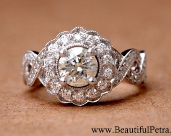 Vintage style flower Halo - 14K Diamond Engagement Ring - 1.25 carats total - with miligrain - Bph029