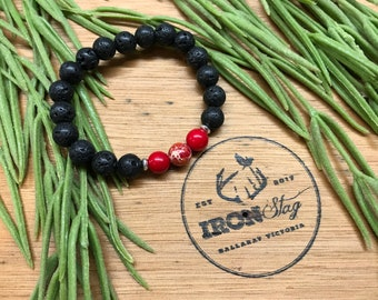 Lava Bead Stretch Bracelet Kids (Small) - Lava and Red Essential Oil Diffuser