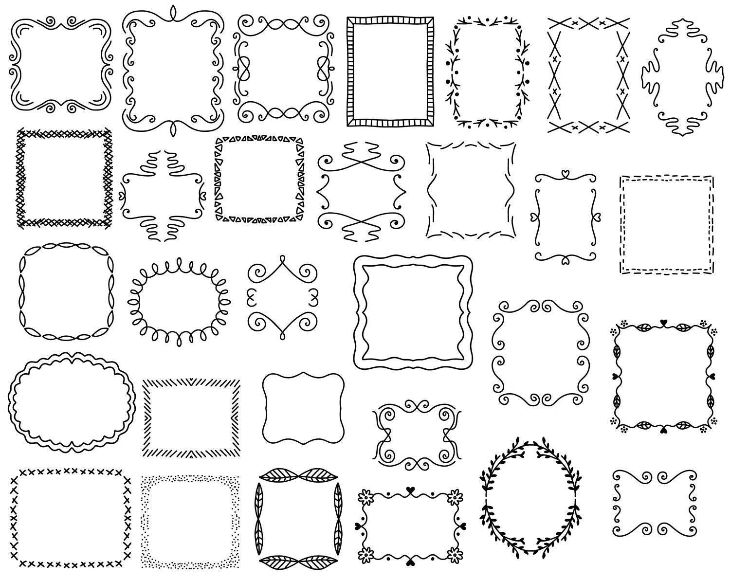 30 Doodle Frames Vector Pack, Hand Drawn Doodle Clipart ,Hand Drawn ...