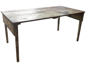 Early 20th Century Pine Folding Table That Folds Up for Storage and Mobility