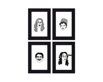 Set of 4 - 4 x 6 Framed Freaks and Geeks Halloween Prints - Bill Haverchuck, Sam Weir,  Neal Schweiber, Harris Trinsky