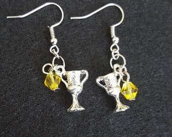 Harry Potter Hufflepuff house cup (horcrux) fishhook earrings with yellow glass beads.