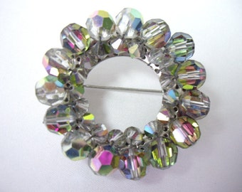 Vintage Aurora Borealis Classic Beaded Round Circle Pin Brooch