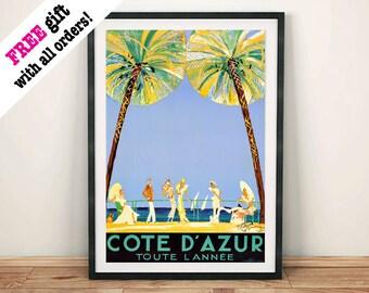 COTE D'AZUR POSTER: Vintage Travel Advert, Art Print Wall Hanging