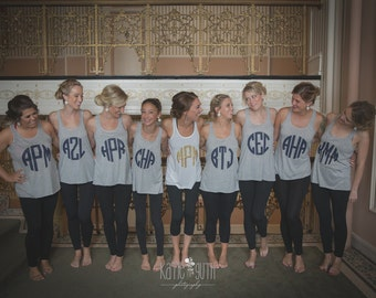 9 Monogrammed Bridesmaid Shirts, Bachelorette Party Tank Tops, Bridal Party Shirts, Getting Ready Shirts (mg001)