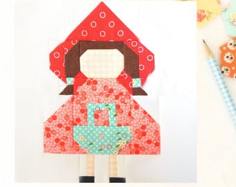 Little Red Riding Hood Quilt Block PDF Pattern - Traditional piecing - 6 inch and 12 inch blocks