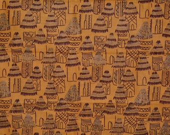 Vintage Africa novelty fabric African wax print African Tribal fabric ethnic fabric native huts tribal African home decor