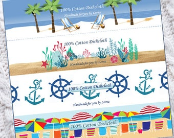 PDF - Just Beachy - Dishcloth Washcloth Wrappers - Labels, Tags