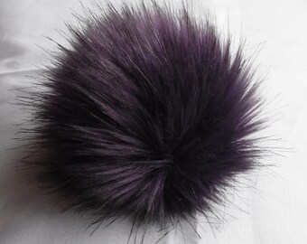 Size XS  (eggplant) faux fur pom pom 4 inches/ 10cm