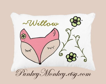 Woodland fox toss pillow personalized or not girls toddler pillow pink green white custom name pillows