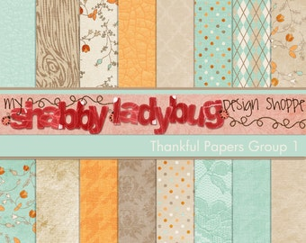 """Thankful Digital Textured Paper Collection Group 1: 16 Individual 12x12"""" 300 dpi digital scrapbook papers"""