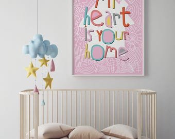Pink Printable Nursery Decor Art Print African Print Instant Download Wall Art My Heart Your Home Typography Posters  prints kids wall shelf
