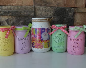 Set of 5 Decorative Easter Jars