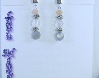 Moonstone, Sterling Silver, Pewter Earrings - E489