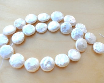 Pearls beads, fresh water pearls, 17mm Natural white coin shape, strand of about 22pcs