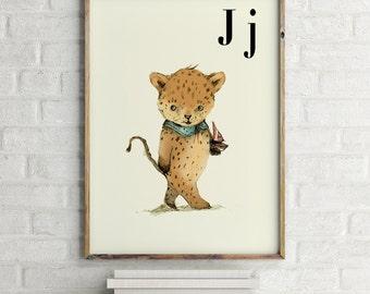 Jaguar print, nursery animal print, safari nursery, alphabet letters, abc letters, alphabet print, animals prints for nursery