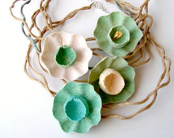 Paper Flowers Necklace, Paper Jewelry, Choker Necklace, Anniversary Gift, Contemporary Necklace, Natural, floral, boho style