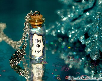 LET IT GO Disney Frozen Necklace Magical Flakes Snowflake Charm,  Bottle Necklace, Frozen Disney Cosplay, Disney Bound, Christmas Necklace