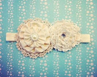 Vintage inspired lace in white or ivory baby baptism snowflake flowers on soft stretch headband newborn to adult