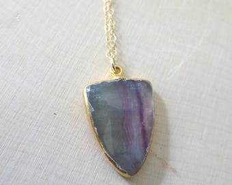 Fluorite gold filled necklace, Fluorite pendant necklace