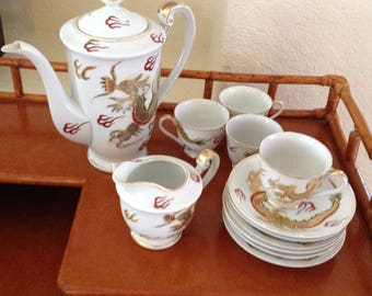 VICTORIA CHINA~Vintage Tea Pot, Creamer, Tea Cups and Saucers~Handpainted~DRAGON