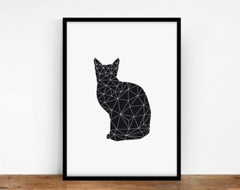 Meow Print, Animal Wall Decor, Digital Cat, Wall Art, Geometric Digital Art, Printable Art, Geometric Animal, Digital Print, Black Cat Print