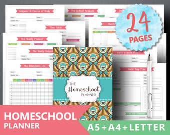 "Homeschool Planner Printable: ""TEACHER PLANNER"" Daily Lesson Plan Classroom Roster, Teaching A4 Binder Timetable Attendance List Reading Log"