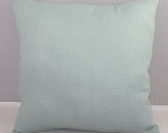 Pillow Cover  Blue Robin's Egg Blue Linen with Zipper Opening 16x16 inches